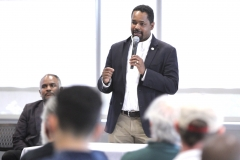 May 19, 2019: Senator Sharif Street attends one of the final stops of Lieutenant Governor John Fetterman's listening tour on the legalization of marijuana in Philadelphia.