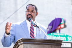 October 2, 2021: Sen. Street hosted a ceremony to unveil a new state historical marker and a street renaming to honor Dr. Oscar James Cooper who cofounded the Omega Psi Phi fraternity at Howard University.  The 101-year old fraternity was the first founded at a historically black college and Dr. Cooper went on to serve as a physician for 50 years at the North Philadelphia site.