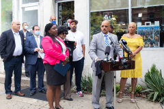August 19, 2021: Senator Sharif Street joins Senator Vincent Hughes , House Democratic Leader Joanna McClinton, industry professionals and Neil Weaver, deputy secretary at the state Department of Community and Economic Development to announce $20 million in relief funding for image and hair care businesses