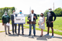 August 25, 2021: Sen. Sharif Street presents a check  to the Shane Victorino Nicetown Boys and Girls Club to rehab a field adjacent to the club to provide safe outdoor recreation for its members.  The club was renamed after the former Phillies centerfielder's foundation committed $1 million to rehab the indoor facility a decade ago.