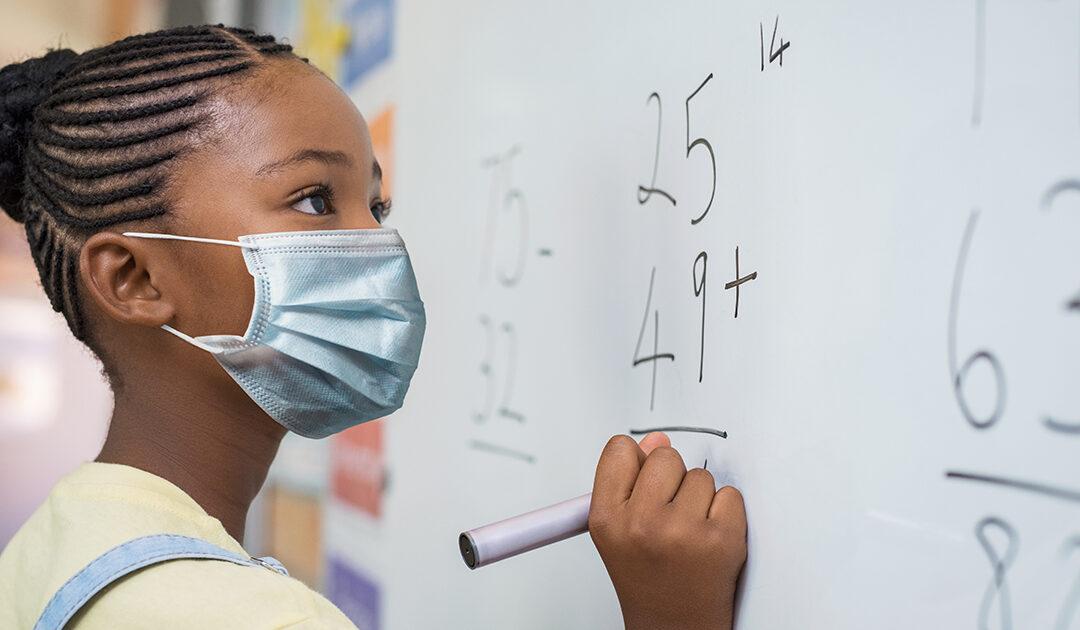 Girl mask in school